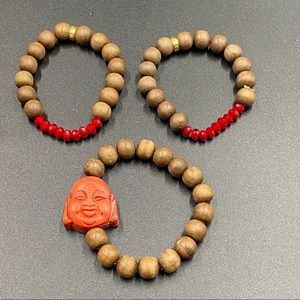 Three Wood Bead and Accented Yoga Bracelets